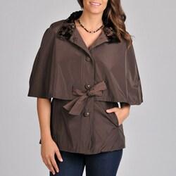 Betsey Johnson Women's Cape Belted Rain Coat