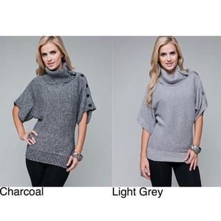 Stanzino Women's Fold-over Turtle Neck Tunic Sweater