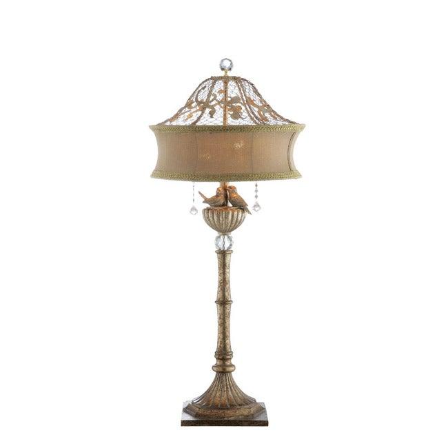 Goldtone Lovebirds Table Lamp