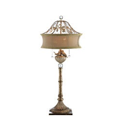 Goldtone Lovebirds Table Lamp
