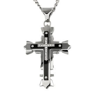 West Coast Jewelry Two-tone Stainless Steel Cubic Zirconia Cross Necklace