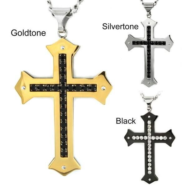 Crucible Stainless Steel Men's Cubic Zirconia Cross Necklace