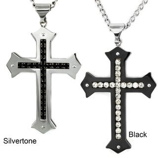 Crucible Stainless Steel Men's Cubic Zirconia Cross Necklace