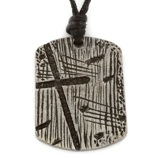 West Coast Jewelry Silvertone Wood Carved Cross Relief Dog Tag Necklace