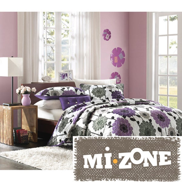 Mi Zone Clarissa Polyester Microfiber Floral Printed 3-piece Quilt Set