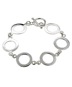 Mondevio Sterling Silver Circular Disc Toggle Bracelet