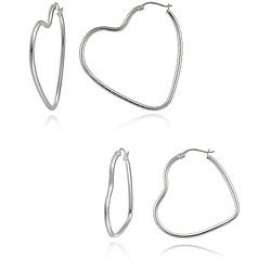 Mondevio Sterling Silver Heart Hoop Earring Set