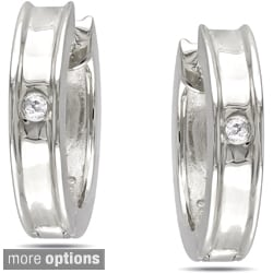 Haylee Jewels Sterling Silver Diamond Hoop Earrings