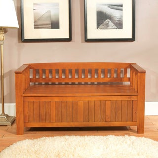 Normandy Light Avalon Brown Entryway Storage Bench | Overstock.com