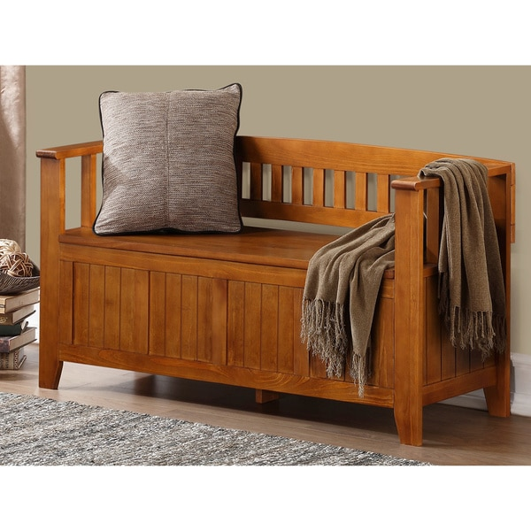 WYNDENHALL Normandy Light Avalon Brown Entryway Storage Bench