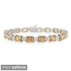 Icz Stonez Sterling Silver Champagne CZ Bracelet