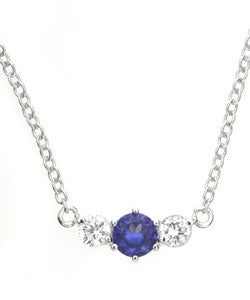 Icz Stonez Sterling Silver Clear and Blue CZ Necklace