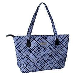 Jenni Chan Brush Strokes 17-inch Padded Blue Cotton Laptop Tote