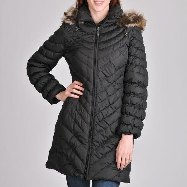 Nuage Women's Melbourne Short Coat with Faux Fur Removable Hood