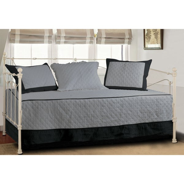 Greenland Home Fashions Brentwood Storm Gray Black Quilted
