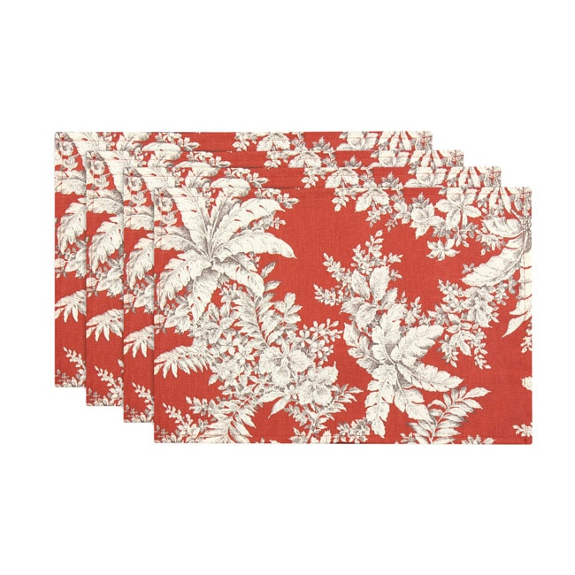 Bellingrath Tuscan Red Lined Placemat (Set of 4)