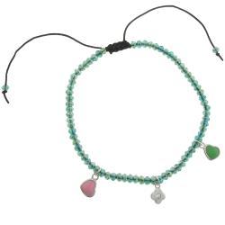 Dolce Giavonna Cubic Zirconia Flower and Enamel Hearts Charm Bracelet