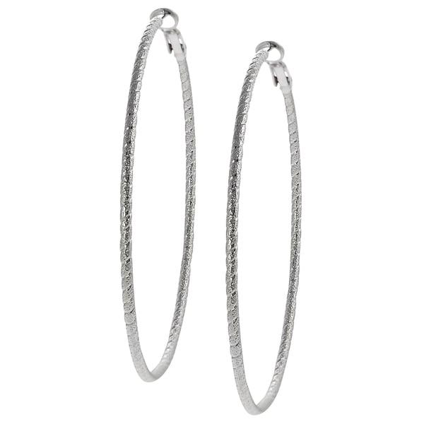 Journee Collection Silvertone Base Stipple Twist 70-mm Hoop Earrings