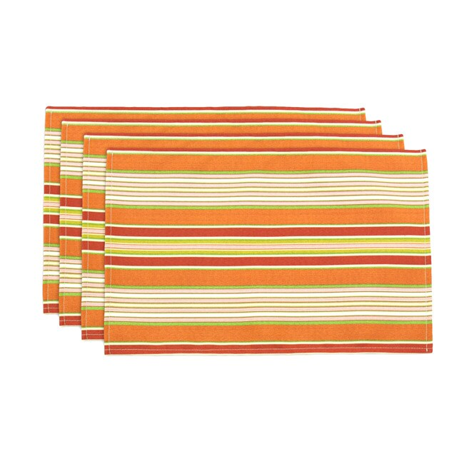 Getaway Citrus Horizontal Stripe Lined Placemats (Set of 4)