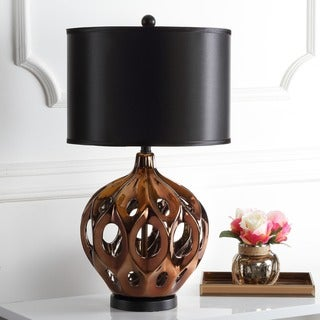"Safavieh Lighting 29-inch Deco Copper Finish Table Lamp - 16""x16""x29"""