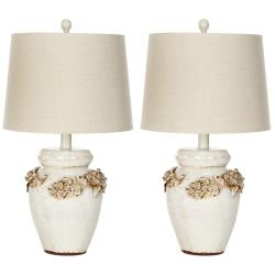Indoor 1-light Raised Floral Garden Table Lamps (Set of 2)