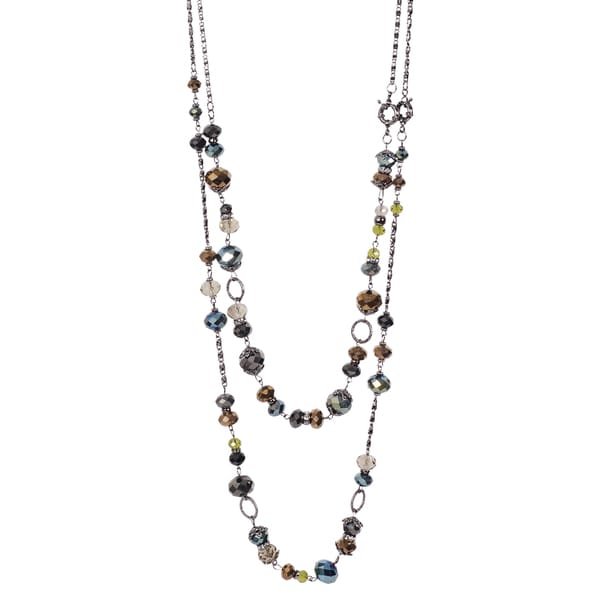 Journee Collection Rhodium-plated Base Multi-color Glass Double Necklace