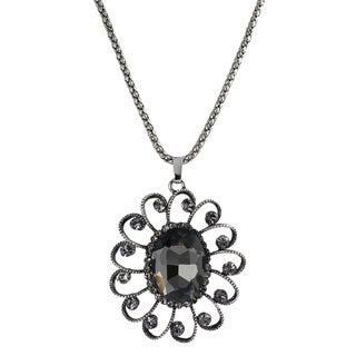 Journee Collection Silvertone Base Grey Glass Stone Vintage Necklace