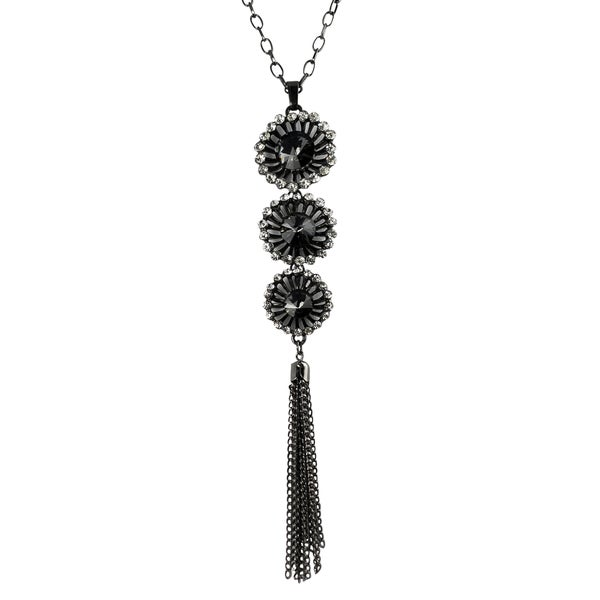 Journee Collection Rhodium-plated Grey and White Glass Stone Necklace