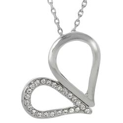 Journee Collection Silvertone Base Crystal Heart Necklace