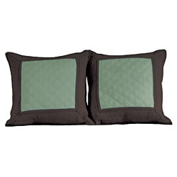 Brentwood Quilted Seafoam Blue/ Espresso Decorative Pillows (Set of 2)