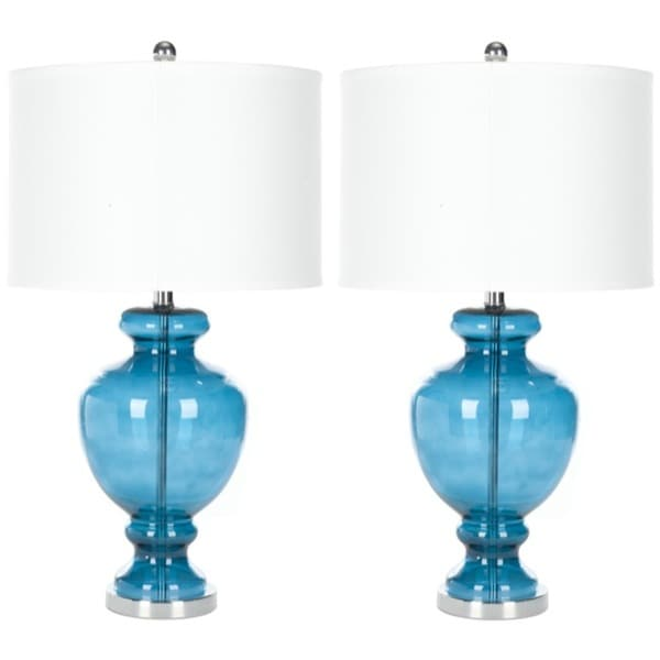 safavieh indoor 1 light turquoise glass table lamps set of 2. Black Bedroom Furniture Sets. Home Design Ideas