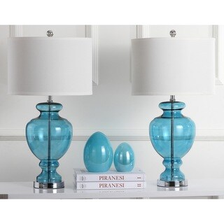 Safavieh Lighting 28-inches Turquoise Glass Table Lamps (Set of 2)