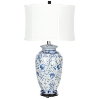 Indoor 1-light White and Blue Gardens Table Lamp