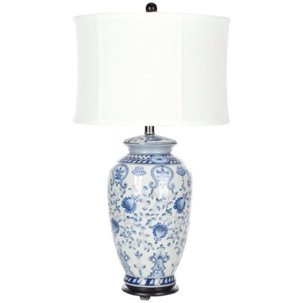 Safavieh Lighting 29-inch White and Blue Gardens Table Lamp