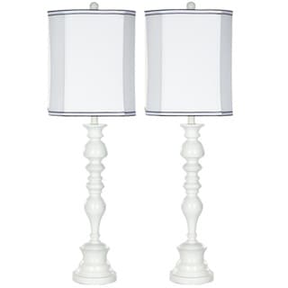 Indoor 1-light Candlestick White Table Lamps (Set of 2)