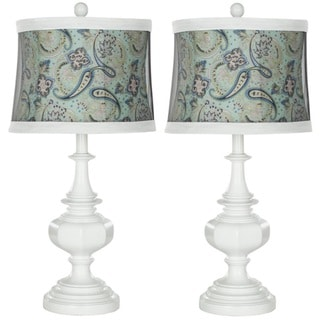 Indoor 1-light Turqoise Paisley Shade White Table Lamps (Set of 2)