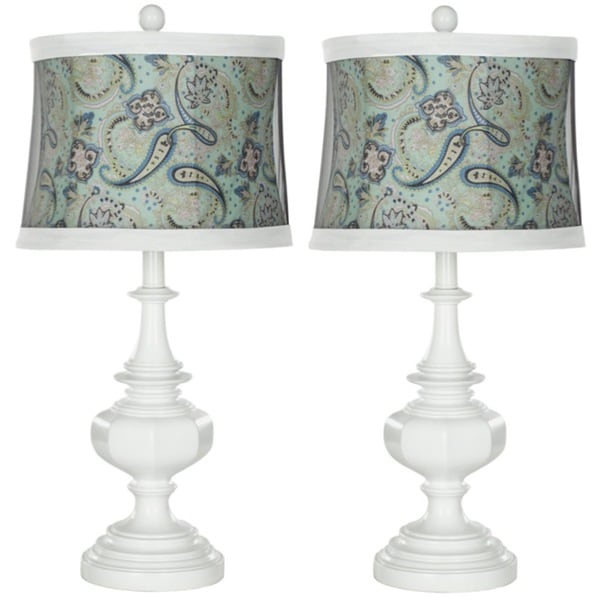 Safavieh Indoor 1-light Turqoise Paisley Shade White Table Lamps (Set of 2)