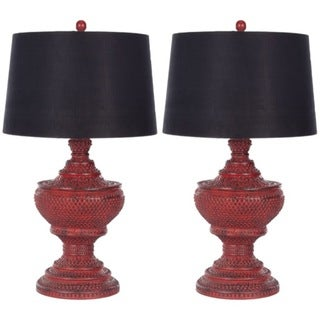 Indoor 1-light Heritage Red Table Lamps (Set of 2)