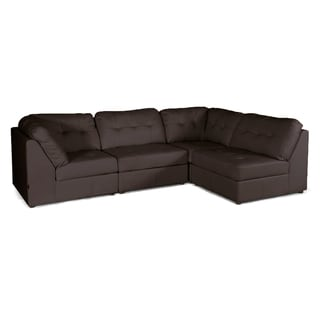 Warren Brown Leather Modern Modular Sectional Sofa Set