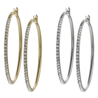 Journee Collection Base Metal Crystal Hoop Earrings