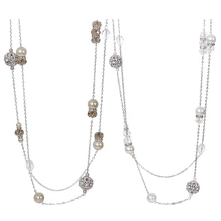 Journee Collection Silvertone Base Faux Pearl Glass Stone Necklace