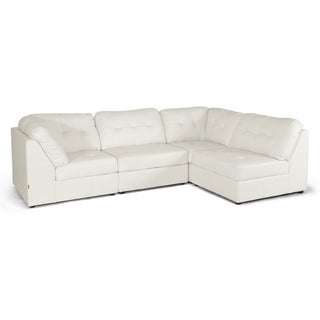 Warren White Bonded Leather Modern Modular Sectional Sofa Set