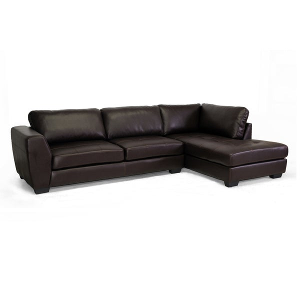 Baxton studio orland brown bonded leather modern sectional for Brown sectionals with chaise
