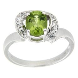 D'sire 10k White Gold Peridot and White Sapphires Ring