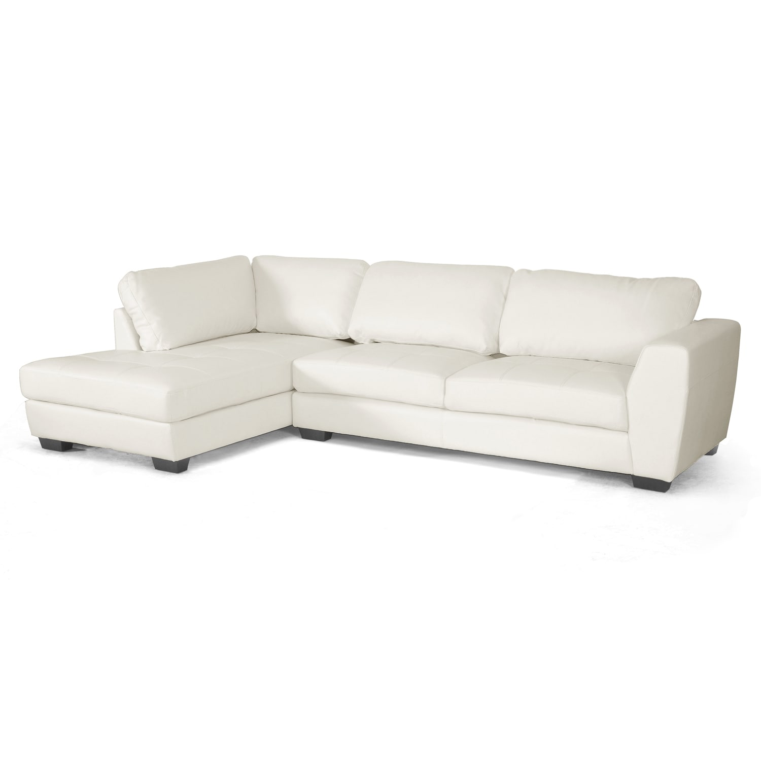 Orland white leather modern sectional sofa set with left for Leather sectional sofa with left facing chaise