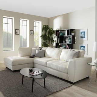 Orland White Leather Modern Sectional Sofa Set with Left Facing Chaise