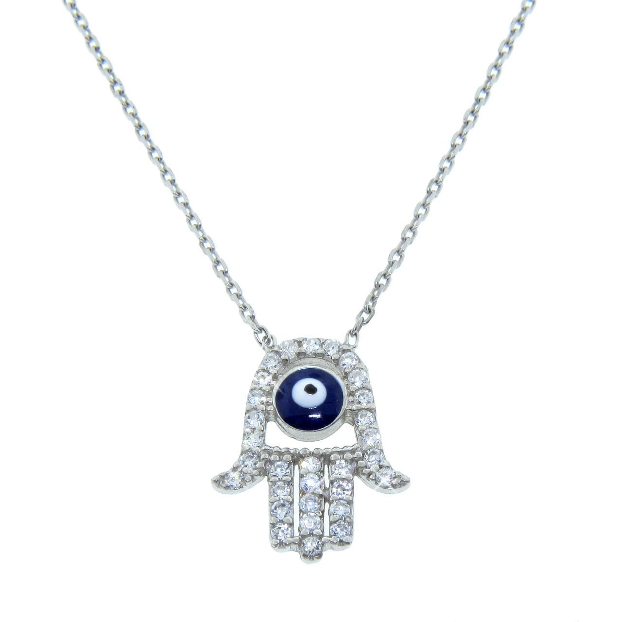 Eternally Haute Sterling Silver Pave Set Evil Eye Hamsa Necklace