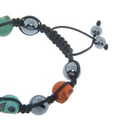 Eternally Haute Hematite Gemstone and Multi-color Skull Macrame Bracelet