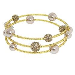 Eternally Haute Smoked Topaz Czech Crystal, Glass Pearl, Seed Stone Wrap Bracelet