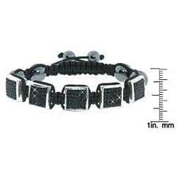 Eternally Haute Hematite Gemstone, Jet Black Czech Crystals and Square Stations Macrame Bracelet